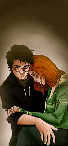 Harry Potter and Ginny Weasley…graphic novel style…despairing. - Space and Astronomy Harry James Potter, Harry Potter Fan Art, Harry Et Ginny, Harry Potter Couples, Fans D'harry Potter, Lily Potter, Harry Potter Ships, Harry Potter Drawings, Harry Potter Books