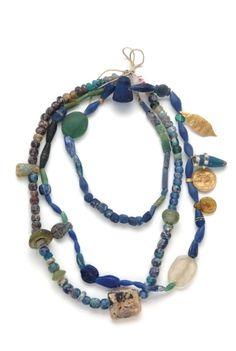 blue w/ gold ancient necklace  Rezan Has Museum