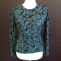 Green and Black Floral Cardi. NWT Bluish green flowers on a black background. LOFT Sweaters Cardigans