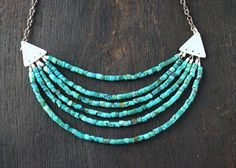 Turquoise necklace sterling silver layered by JaneFullerDesigns