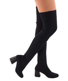 Women Winter over the knee boots cuffed stretchy pull on hidden heel platform