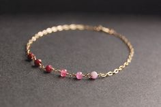 Ruby Gemstone Anklet gold anklet gold ankle by MajaOlender