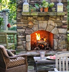 39 The Best Backyard Fireplace Design That You Must Have - Having an outdoor space is a great part of owning a home. Backyards can be small and cozy or large and expansive, but no matter the size, making it in. Outside Fireplace, Backyard Fireplace, Fireplace Outdoor, Fireplace Seating, Cabin Fireplace, Cozy Backyard, Outdoor Rooms, Outdoor Living, Outdoor Decor