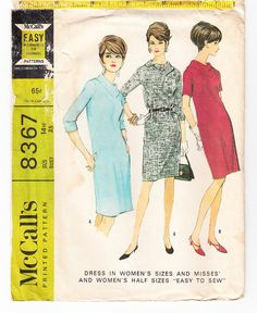 Vintage 1966 McCall's 8367 Sewing Pattern Women's Dress Size 40 Bust 42 UNCUT