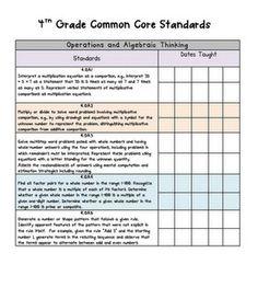 Common Core Standards 4th Grade math