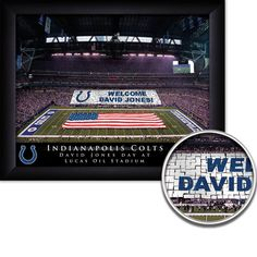 Indianapolis Colts Personalized NFL Card Stunt Football Stadium with American Flag Framed Print 13x16 Inches Free Shipping