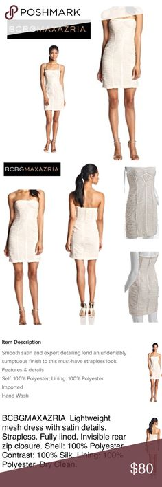 BCBG Strapless Silk Mesh Dress *Size: 6  *Color: Silky Ivory / Light Bone   *Built in Fully Lining  *Strapless  *Mesh Details Throughout  *Shell: 100% Polyester  *Contrast: 100% Silk  *Hidden Back Zip Closure with Eye Hook BCBG Dresses Strapless