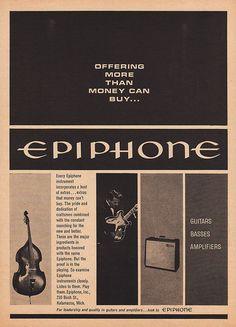 1963 EPIPHONE Music Advertisement Upright Bass, Guitar, Amplifier Ad by phorgotten
