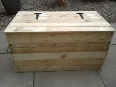 Rustic log storage box made out of pallets by my hubby