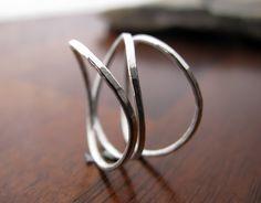 LeCubicle on Etsy-set of three wavy rings
