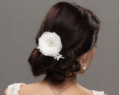 wedding hair flower chiffon lace beading pearls hair clip birdcage veil fascinator bridal hair style