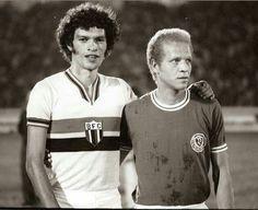 Sócrates e Ademir da Guia.  Sócrates e Ademir da Guia. Botafogo FC e Palmeiras.