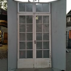 Pair of French doors w/ transom & hardware   Ohmega Salvage