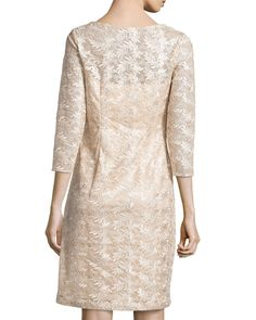 3/4-Sleeve Embroidered Sheath Dress