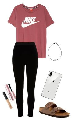 """Nike"" by alliegentry on Polyvore featuring NIKE, River Island, Birkenstock, Too Faced Cosmetics, NARS Cosmetics, pearls, nike and birkenstocks"