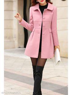 Detachable Faux Fur Collar Single Breasted Plain Woolen Coat - berrylook.com
