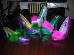 The most coveted Mardi Gras throw of them all, a shoe from the Muse Krewe.