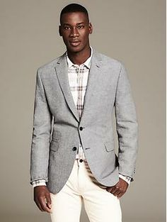 Tailored-Fit Houndstooth Linen Blazer | Clothes | Pinterest ...