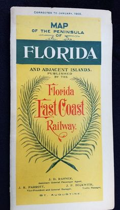 1900 Fold Out Map FLORIDA East Coast Railway Gr8t Graphics Cuba West Indies