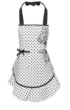Black Foral Apron by Lisbeth Dahl Copenhagen Spring/Summer 13. #LisbethDahlCph #Black #Floral #Bow #Dots #Kitchen