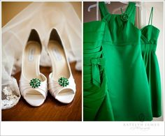 White with Emerald Shoes for Bride, Green Bridesmaid Dresses