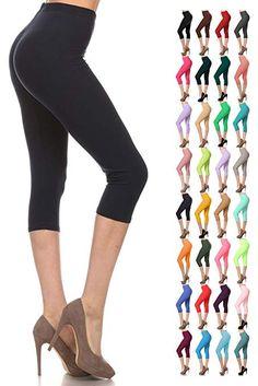 d855a83bde5 Leggings Depot Buttery Soft Basic Solid 36+ Colors Women s Capri Leggings   Leggings