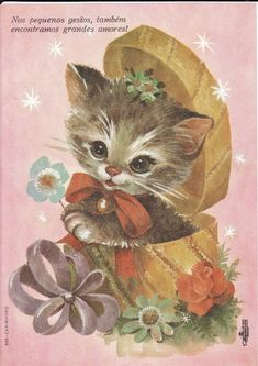 Vintage Birthday Cards, Vintage Greeting Cards, Vintage Postcards, Vintage Cartoon, Vintage Cat, Kitten Cartoon, Kitten Images, Cat Cards, Cute Little Animals