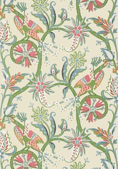 PEACOCK GARDEN, Coral and Pink, T24359, Collection Bridgehampton from Thibaut