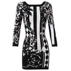 BALMAIN Baroque Floral Stretch-Knit Dress found on Polyvore