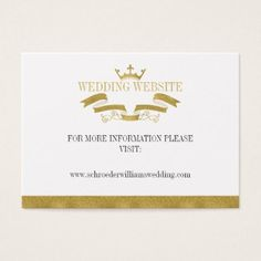 Classic Gold Crest Wedding Website Card - monogram gifts unique design style monogrammed diy cyo customize