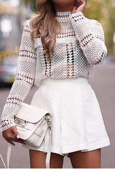 trendy white outfit : jacer top + bag + shorts