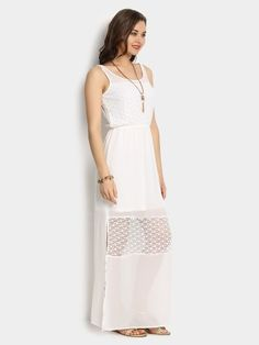 260ec2db786 Buy Abof Ivory White Solid Maxi Dress online