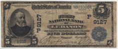 Lebanon, OR - Ch. 9127 - $5 1902 Blue Seal This becomes just the second $5 blue seal for The First National Bank of Lebanon, Oregon. A total of just six blue seals are now accounted for when considering all denominations. This is a lower end fine with a cut starting just below the president's signature and extending to the bottom margin. The back left and right margins do show some scuffing. This note is priced to sell at an opening bid of $500 which is 25% of the $2,000 Kelly value.