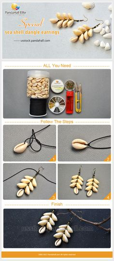 DIY shell earrings with Pandahall Elite sea shell beads