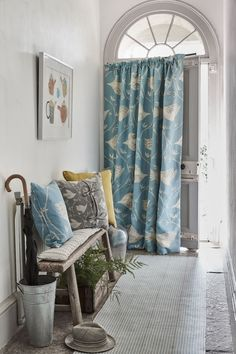 love these vanessa arbuthnott full flight powder blue hall curtains. Click through to discover the rest of the beautiful new Artists Collection of designs from Vanessa Hallway Curtains, Front Door Curtains, Curtain Door, Lounge Curtains, Curtains Uk, Cottage Curtains, Curtain Rails, Kitchen Curtains, Curtain Fabric