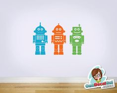 Robots Set of Three  Vinyl Wall Decal by OneDecalGal on Etsy, $30.00 choose your colors