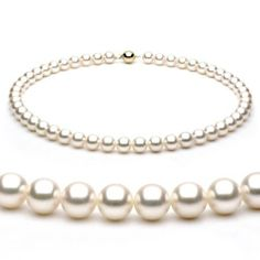 14k Yellow Gold 8-8.5mm White Japanese Akoya Saltwater Cultured Pearl Necklace AAA Quality, 20 Inch Princess Unique Pearl. $1399.00