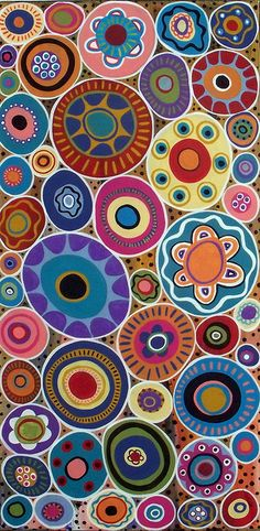 lots of circles inspiration - abstract folk art acrylic and oil painting on stretched canvas by Karla G