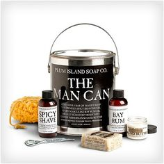 The Man Can  Everything a man needs to keep his skin looking and feeling great has been rounded up and put in this can. It includes things like scrub soap, hand butter, shave gel, after shaving lotion, and more. The can is reusable after all the products have been used up.