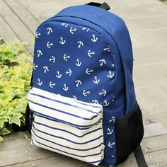 Navy Striped Anchor Print Backpack