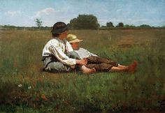 the post office made this into a stamp, 'boys in a pasture' by winslow homer