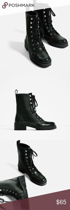 NWT Zara Dark Green Military Combat Boots Really cool dark green combat boots that give an edge to any outfit. Never worn. Zara Shoes Combat & Moto Boots