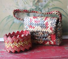 Part of the war effort ? Made w/ cigarette packages. ALady Mid Century Tramp Art Prison Art Handbag And by ValsVintageShoppe, $118.00