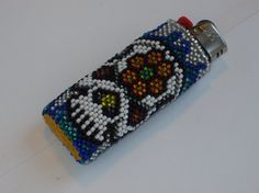 Peyote Beaded Sugar Skull Lighter case by twyladigangi on Etsy, $30.00