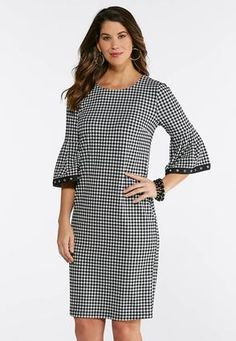 ccb62460a92f Plus Size Gingham Bell Sleeve Dress Midi Cato Fashions