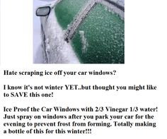 Prevent ice on Vehicle windows