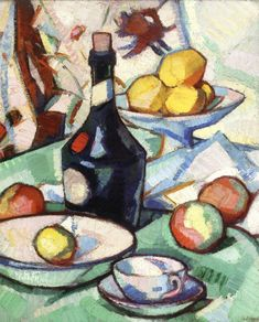 Still Life with Benedictine Bottle and Fruit - Samuel John Peploe - The Athenaeum Still Life Drawing, Painting Still Life, Still Life Artists, Canvas Art, Canvas Prints, High Art, Oil Painting Reproductions, Painting Inspiration, Decoupage