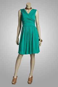 """Easy Breezy, in our jade """"Willow"""" rayon jersey V-neck dress."""