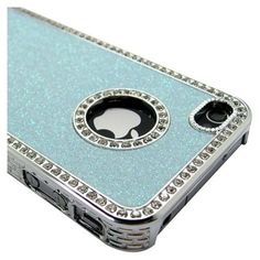 Tiffany Blue Luxury Bling Glitter Chrome Crystal Rhinestone Hard Case for iPhone 4 4G 4S