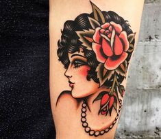 Awesome 3 colors traditional old school tattoo style of Woman with Rose motive done by tattoo artist Vince Pages Pin Up Tattoos, Head Tattoos, Side Tattoos, Cool Tattoos, Arabic Tattoos, Traditional Tattoo Woman Face, Traditional Tattoo Art, Traditional Sleeve, Dragon Tattoo Back Piece
